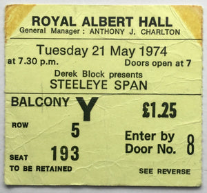 Steeleye Span Original Used Concert Ticket Royal Albert Hall London 21st May 1974