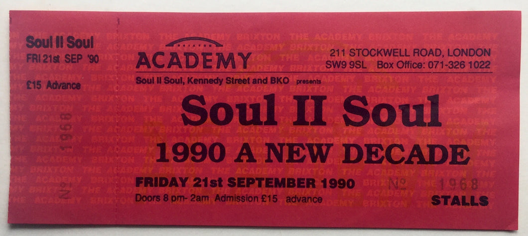 Soul II Soul Original Unused Concert Ticket Brixton Academy London 21st September 1990