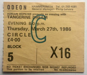 Tangerine Dream Original Used Concert Ticket Hammersmith Odeon London 27th March 1986