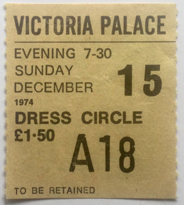 Supertramp Chris De Burgh Original Concert Ticket Victoria Palace Theatre London 15th Dec 1974