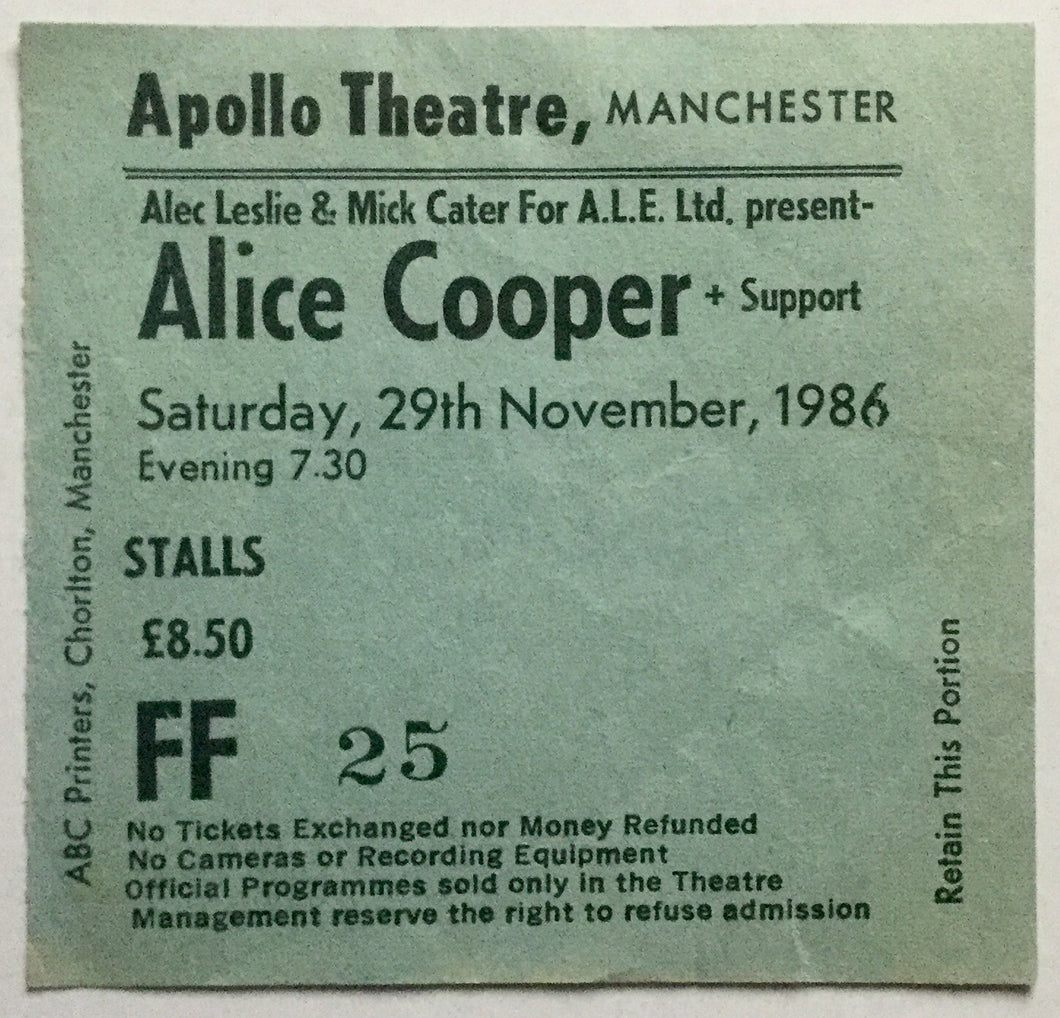 Alice Cooper Original Used Concert Ticket Apollo Theatre Manchester 29th Nov 1986