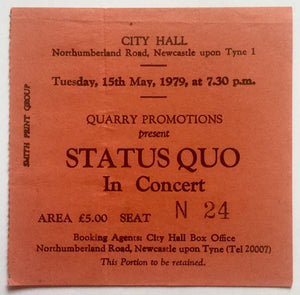 Status Quo Original Used Concert Ticket City Hall Newcastle 15th May 1979