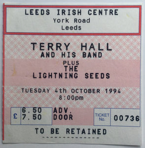 Terry Hall The Lightning Seeds Original Used Concert Ticket Leeds Irish Centre 4th Oct 1994