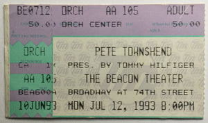 Who Pete Townshend Original Used Concert Ticket Beacon Theater New York 12th July 1993