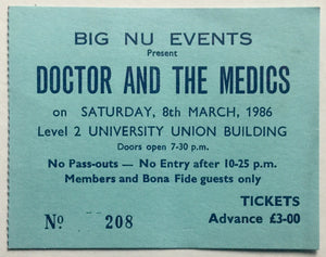 Dr & the Medics Original Used Concert Ticket Newcastle University 8th March 1986