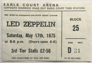 Led Zeppelin Original Used Concert Ticket Earls Court Arena London 17th May 1975