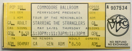 Stranglers Original Unused Concert Ticket Commodore Ballroom Vancouver 14th May 1981