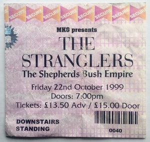 Stranglers Original Used Concert Ticket Shepherds Bush Empire London 22nd Oct 1999