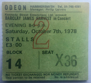 Barclay James Harvest Original Used Concert Ticket Hammersmith Odeon London 7th Oct 1978