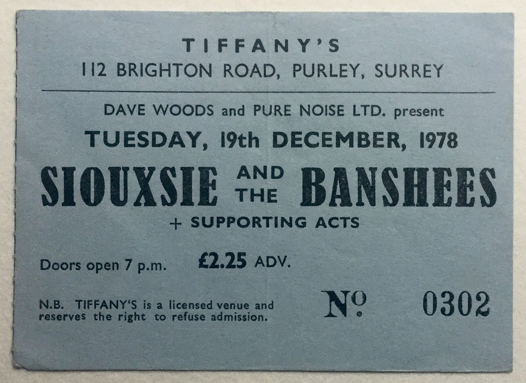 Siouxsie & The Banshees Original Concert Ticket Tiffany's Purley 19th Dec 1978