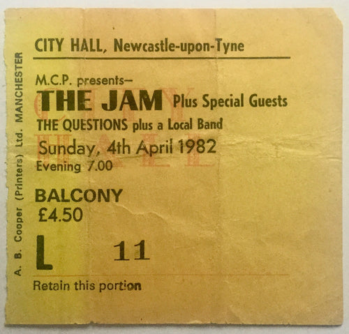 Jam Original Used Concert Ticket City Hall Newcastle 4th Apr 1982
