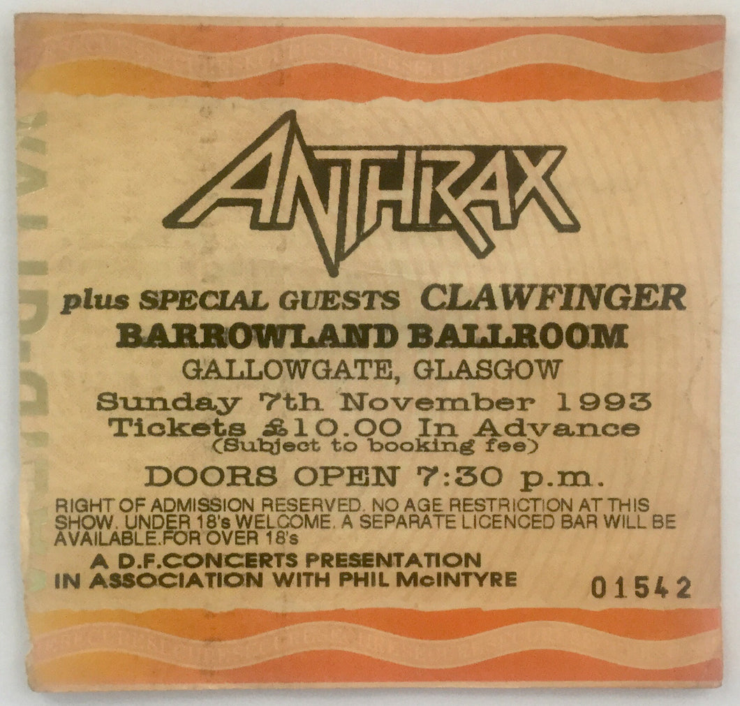 Anthrax Original Used Concert Ticket Barrowlands Glasgow 7th Nov 1993