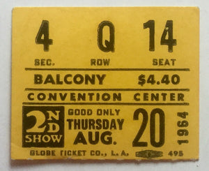 Beatles Original Used Concert Ticket Convention Center Las Vagas 20th August 1964