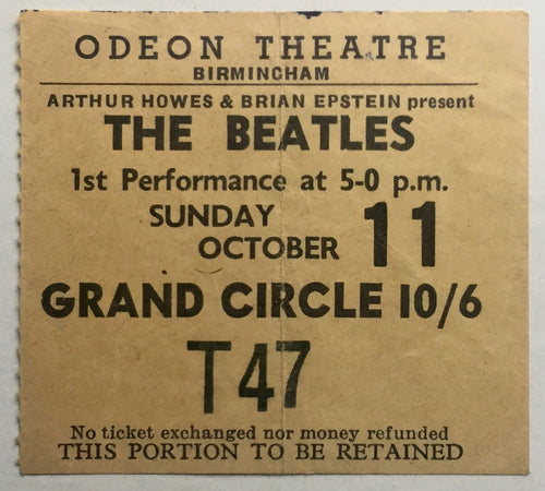 Beatles Original Used Concert Ticket Odeon Theatre Birmingham 11th Oct 1964