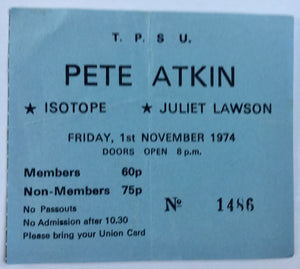 Isotope Peter Atkin Original Used Concert Ticket New Victoria Theatre London 1st Nov 1974