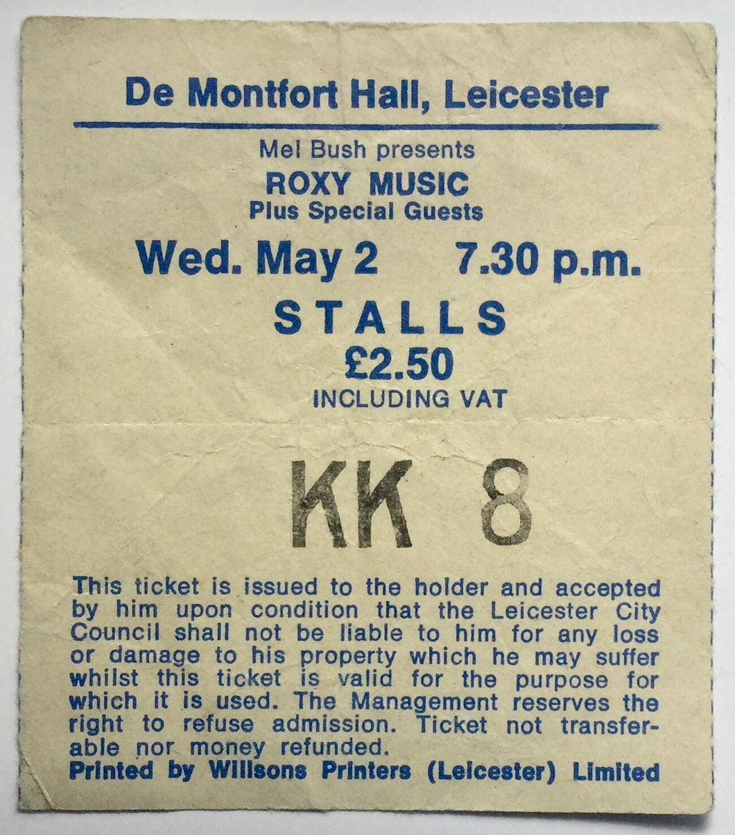 Roxy Music The Tourists Original Used Concert Ticket De Montfort Hall Leicester 2nd May 1979