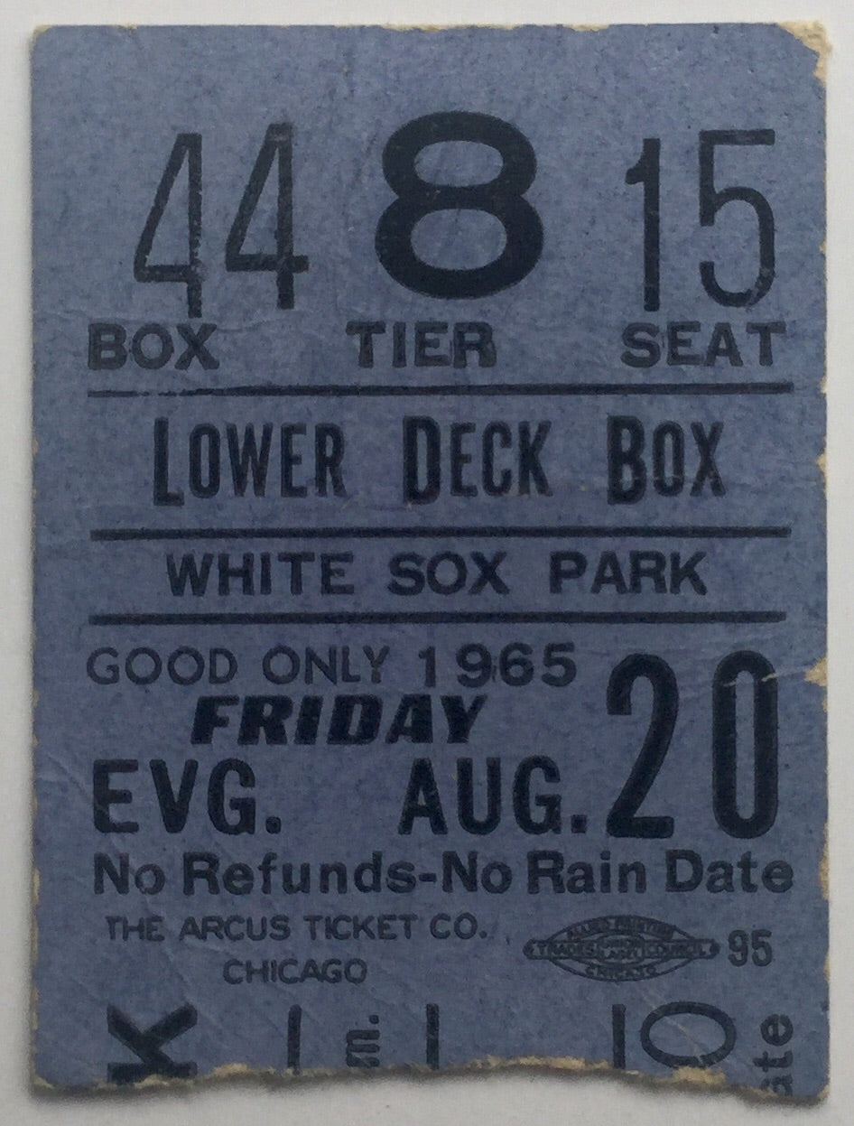 Beatles Original Used Concert Ticket White Sox Park Chicago 20th Aug 1965