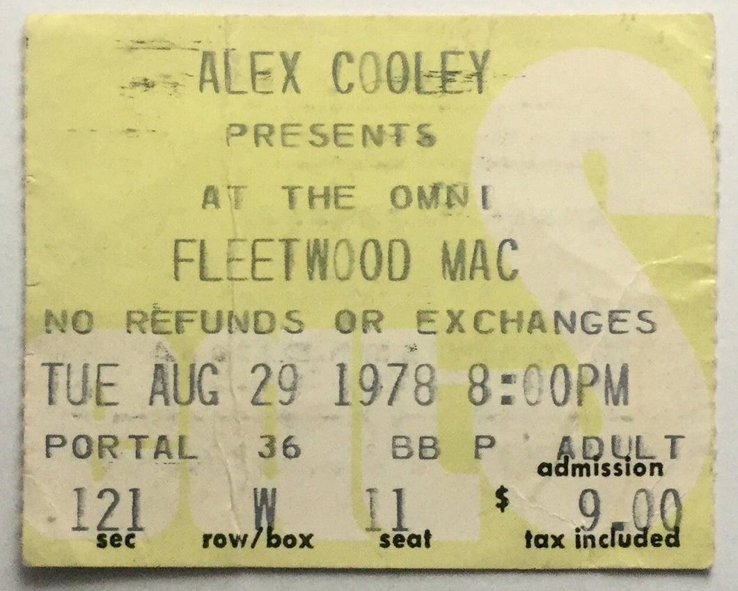 Fleetwood Mac Original Used Concert Ticket Omni Theatre Atlanta 29th Aug 1978