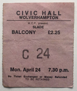 Slade Original Used Concert Ticket Civic Hall Wolverhampton 24th Apr 1978