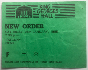 Joy Division New Order Original Used Concert Ticket King George's Hall Blackburn 28th January 1985