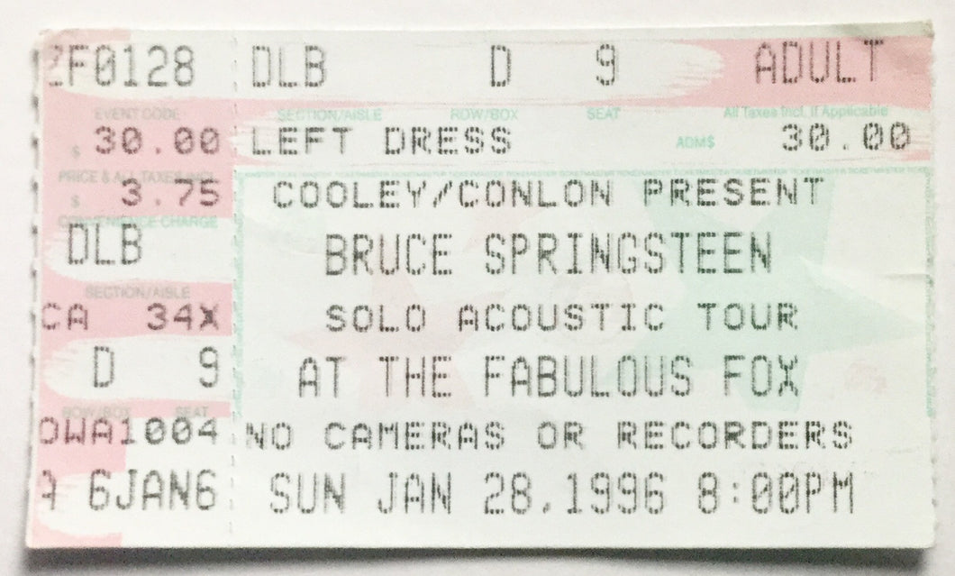 Bruce Springsteen Original Used Concert Ticket Fox Theatre Atlanta 28th Jan 1996