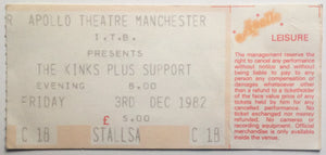 Kinks Original Used Concert Ticket Apollo Theatre Manchester 3rd Dec 1982