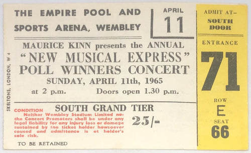 Beatles Rolling Stones Original Used Concert Ticket Empire Pool and Sports Arena Wembley London 1965