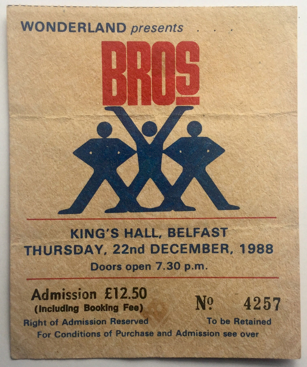 Bros Original Used Concert Ticket King's Hall Belfast 22nd Dec 1988