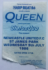 Queen Status Quo Original Used Concert Ticket St. James Park Newcastle 9th July 1986