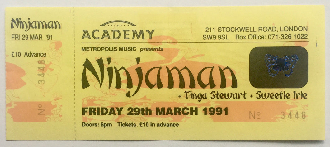 Ninjaman Original Unused Concert Ticket Brixton Academy London 29th March 1991