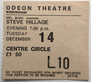 Steve Hillage Original Used Concert Ticket Odeon Theatre Birmingham 14th Dec 1976