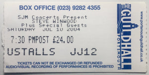 Steve Winwood Original Used Concert Ticket Guildhall Portsmouth 10th July 2004