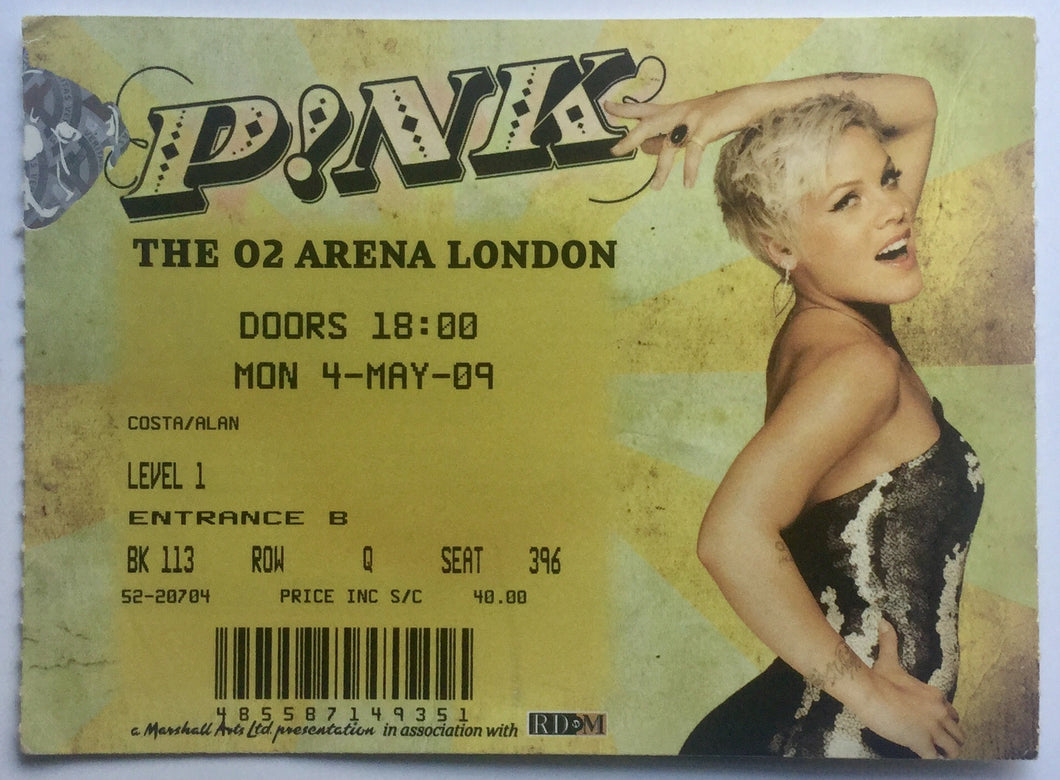 P!nk Pink Original Used Concert Ticket O2 Arena London 4th May 2009