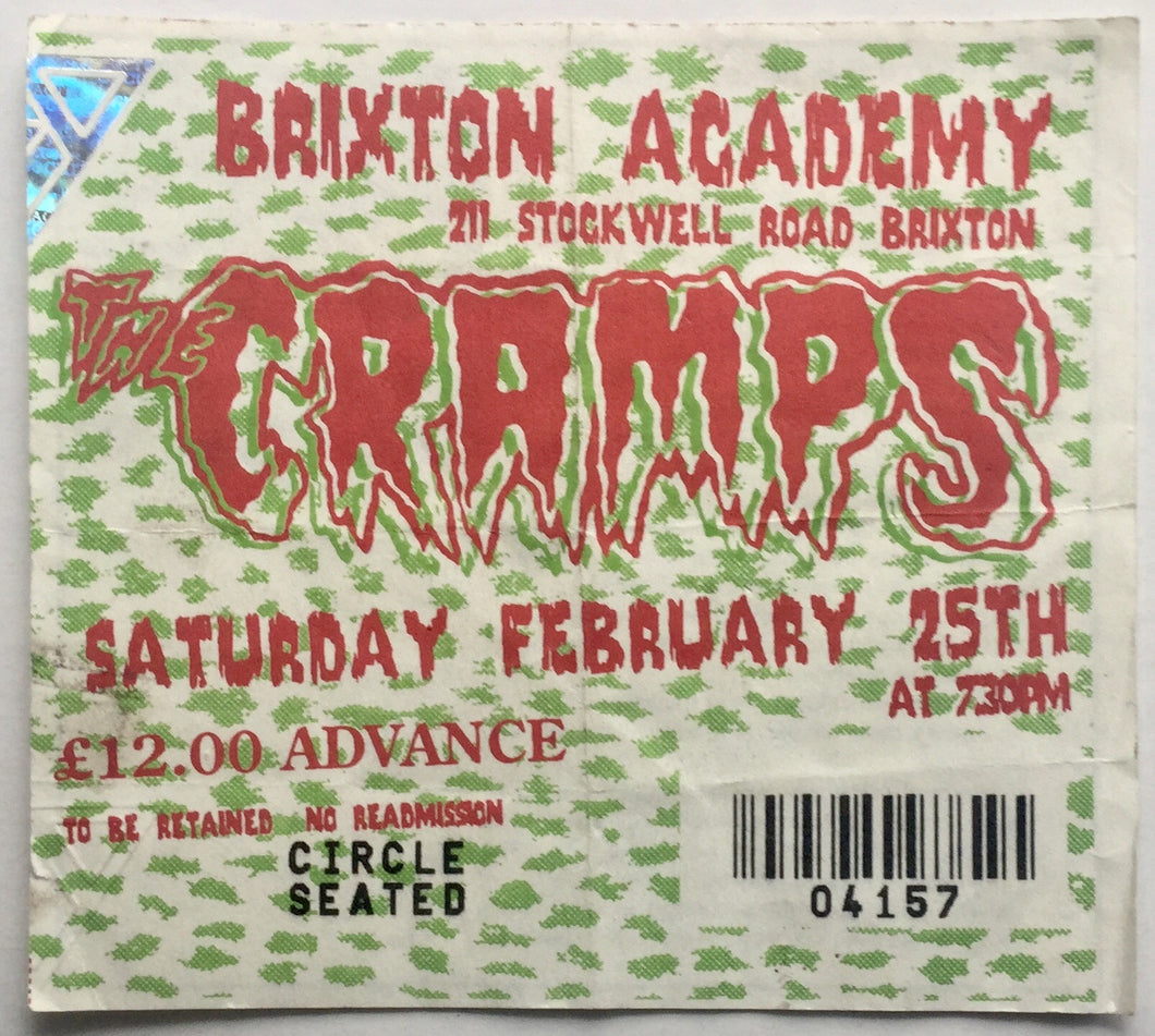 Cramps Original Used Concert Ticket Brixton Academy London 25th Feb 1995