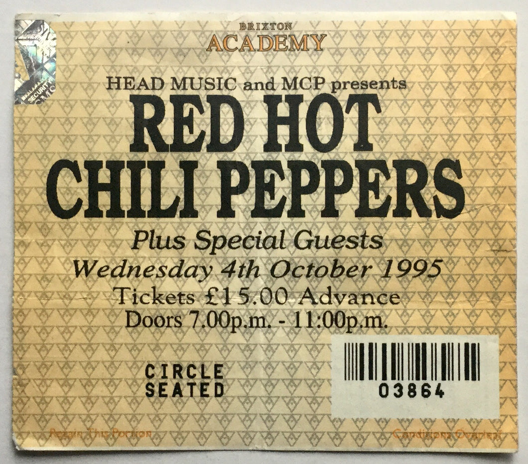 Red Hot Chili Peppers Original Used Concert Ticket Brixton Academy London 4th October 1995