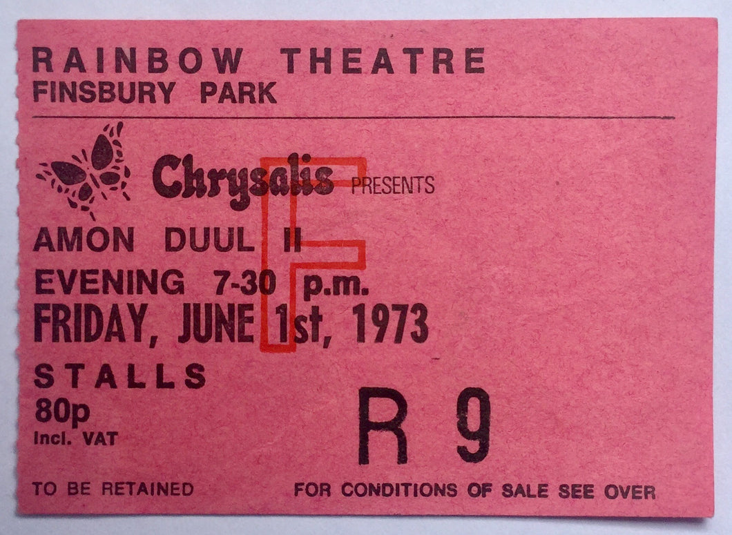 Amon Duul Original Used Concert Ticket Rainbow Theatre London 1st June 1973