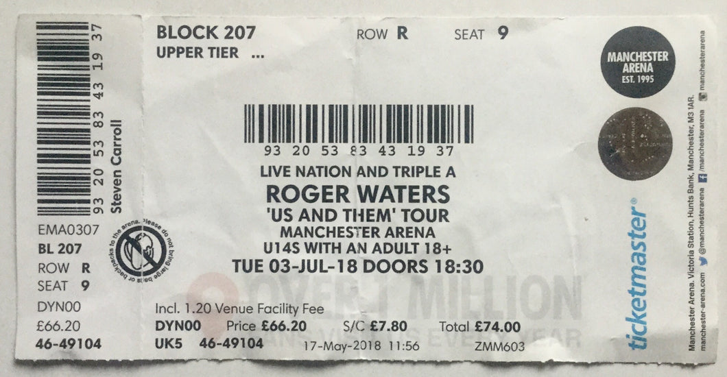 Pink Floyd Roger Waters Original Used Concert Ticket Manchester Arena 3rd Jul 2018