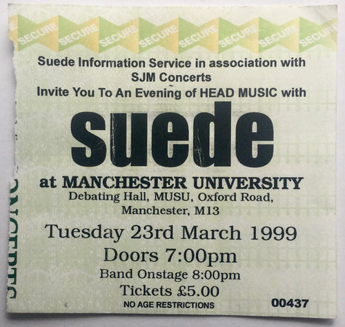 Suede Original Used Concert Ticket Manchester University 23rd Mar 1999