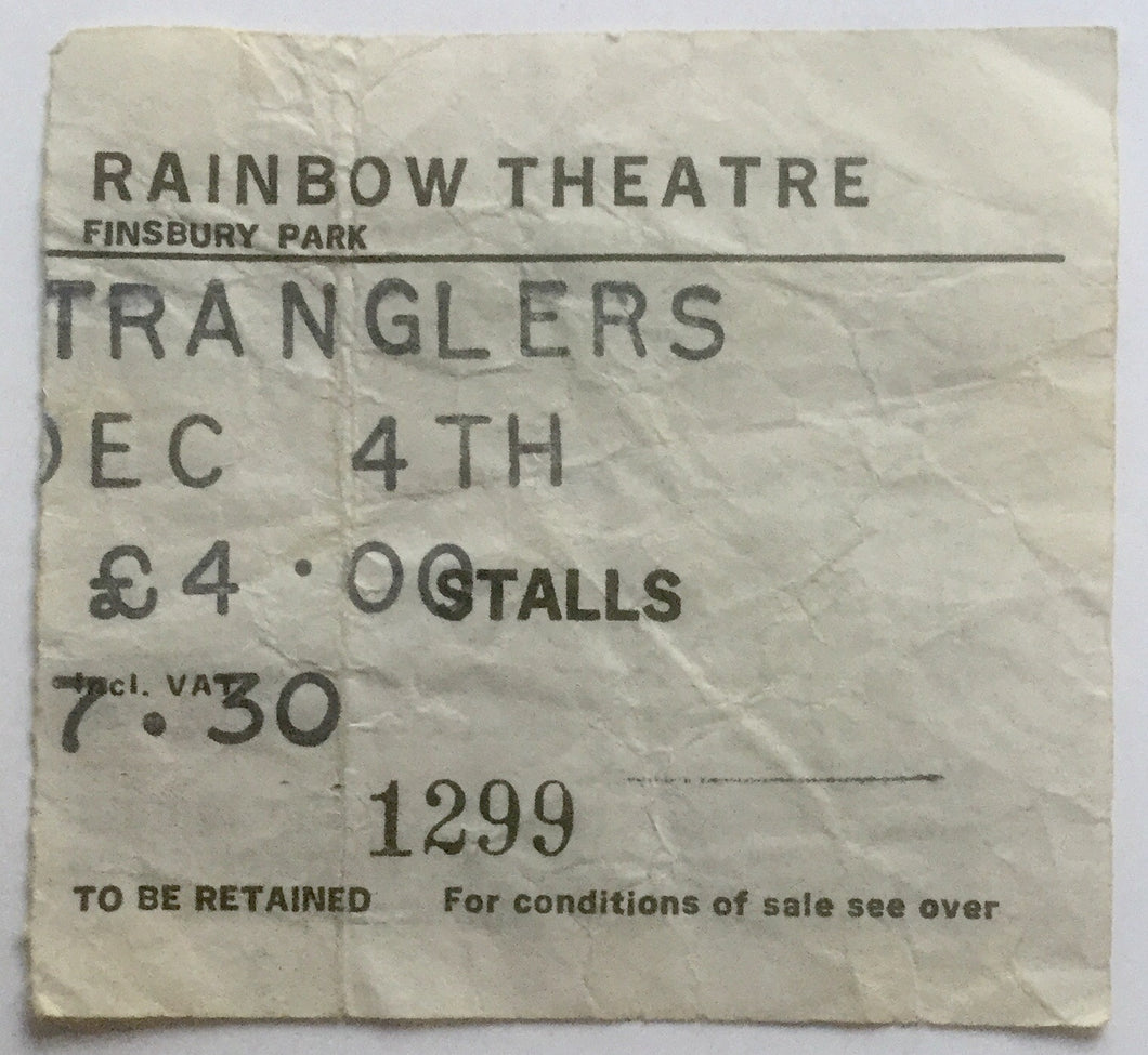 Stranglers Original Used Concert Ticket Rainbow Theatre London 4th Dec 1981
