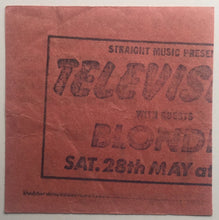Load image into Gallery viewer, Blondie Television Original Used Concert Ticket Hammersmith Odeon London 28th May 1977