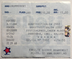 David Bowie Muse Original Used Concert Ticket Quart Festival Odderøya 3rd July 2002