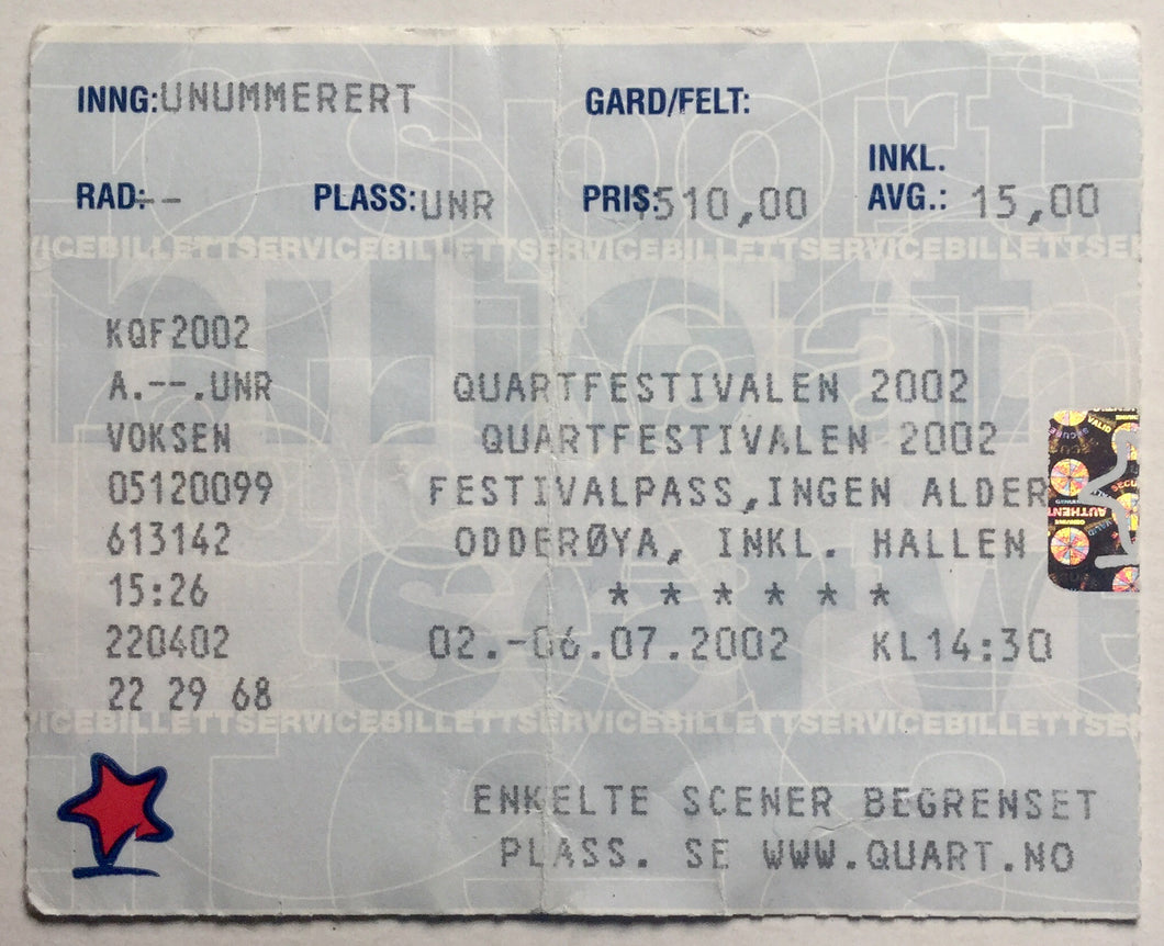 David Bowie Original Used Concert Ticket Quart Festival Odderøya 3rd July 2002