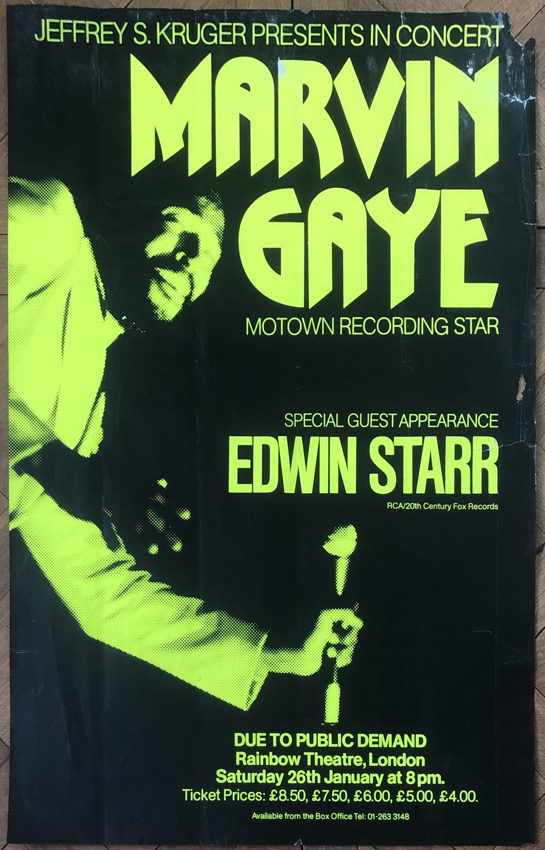 Marvin Gaye Edwin Starr Original Concert Tour Gig Poster Rainbow Theatre London 26th Jan 1980
