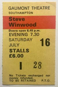 Steve Winwood Original Used Concert Ticket Gaumont Theatre Southampton 16th July 1983