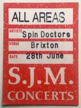 Load image into Gallery viewer, Spin Doctors Original Unused Concert Tour Backstage Pass Ticket Brixton Academy London 28th June 1994
