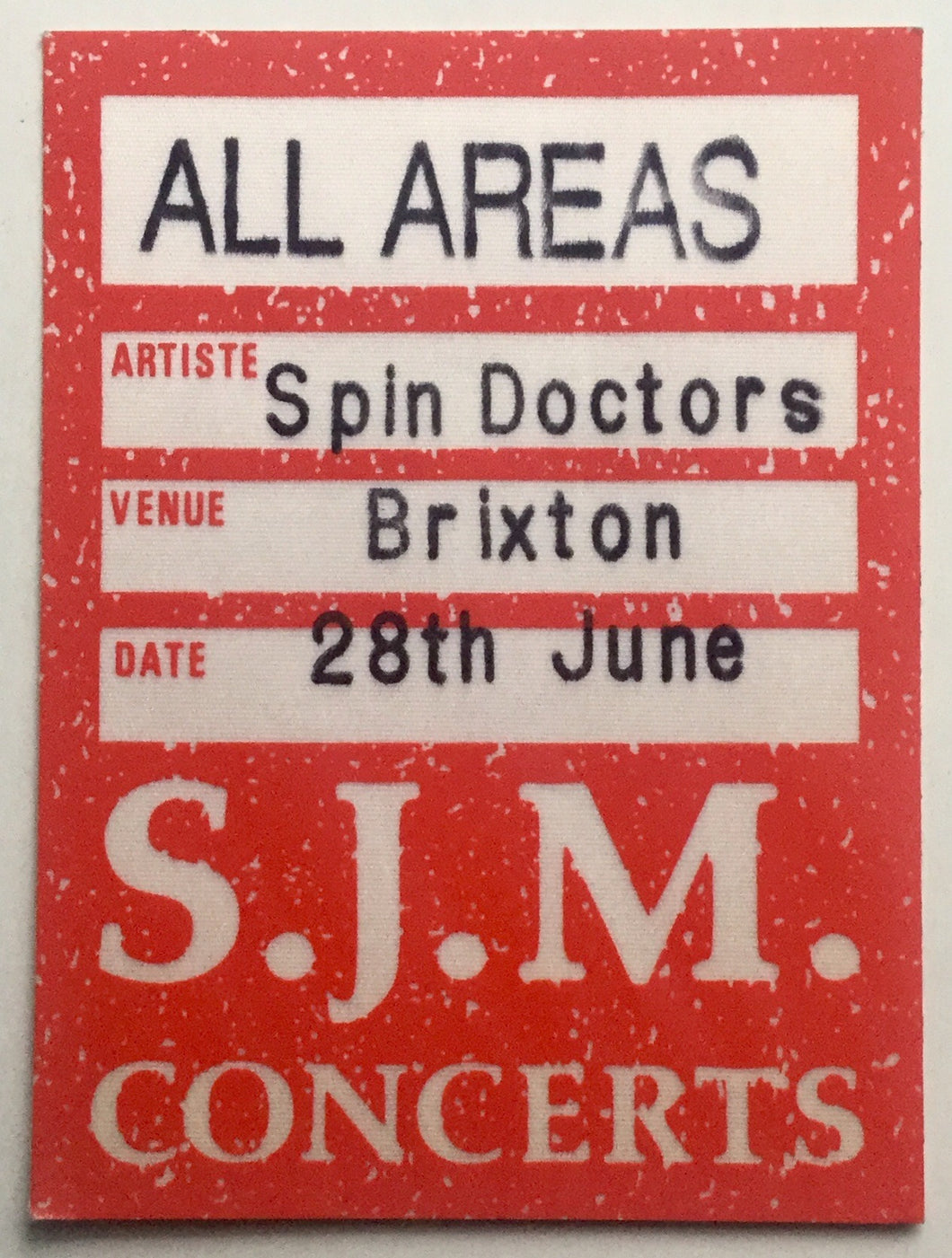 Spin Doctors Original Unused Concert Tour Backstage Pass Ticket Brixton Academy London 28th June 1994