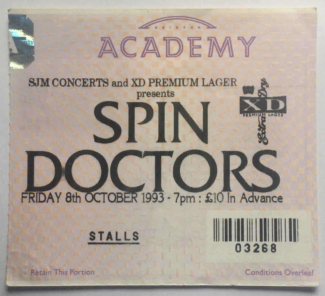 Spin Doctors Original Used Concert Ticket Brixton Academy London 8th Oct 1993