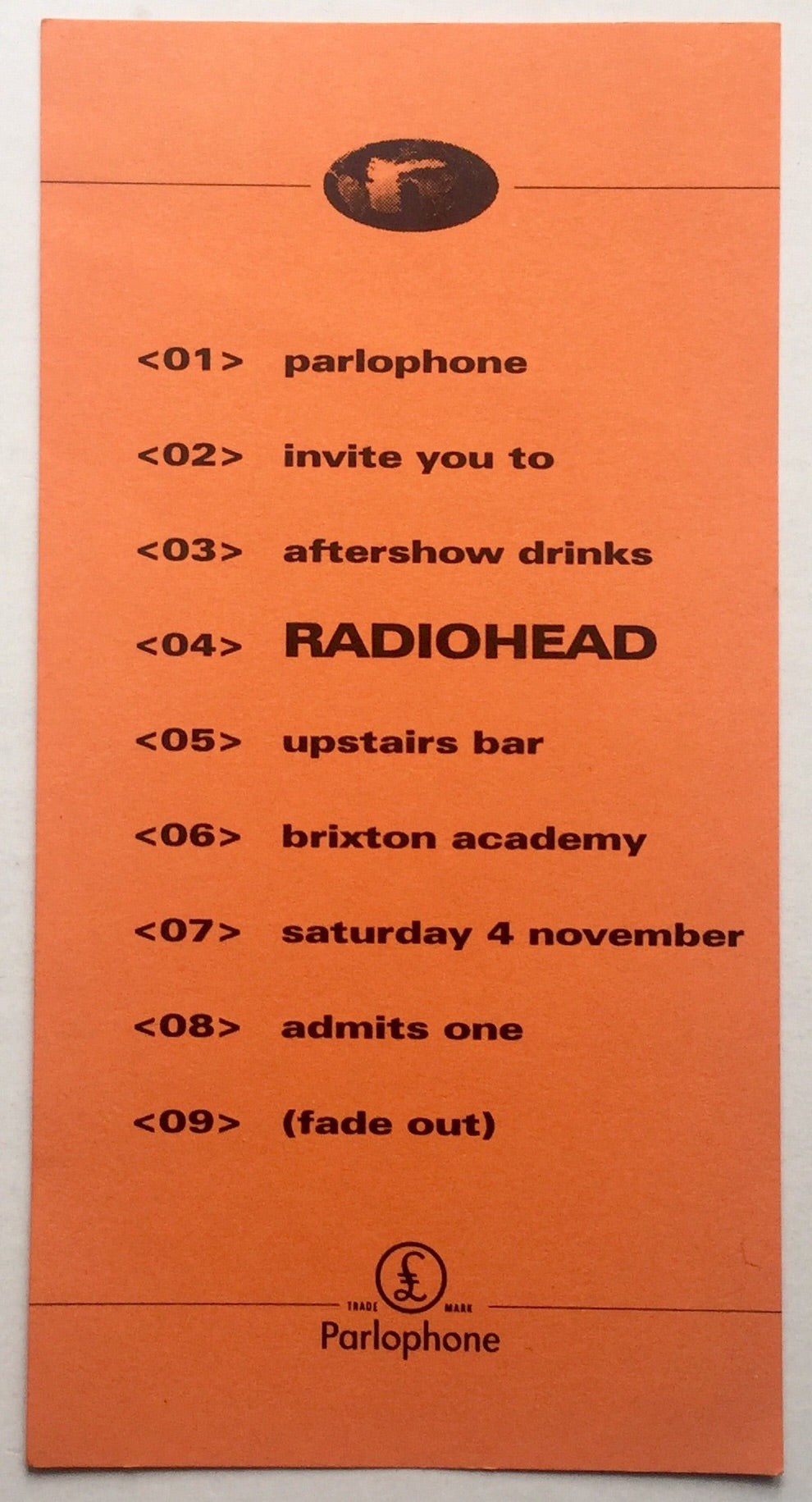 Radiohead Original Unused After Concert Invitation Ticket Brixton Academy London 4th Nov 1995