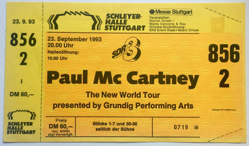 Beatles Paul McCartney Original Unused Concert Ticket Schleyer Halle Stuttgart 23rd Sept 1993