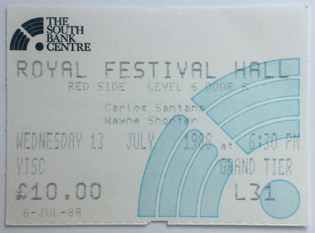 Santana Original Used Concert Ticket Royal Festival Hall London 13th July 1988